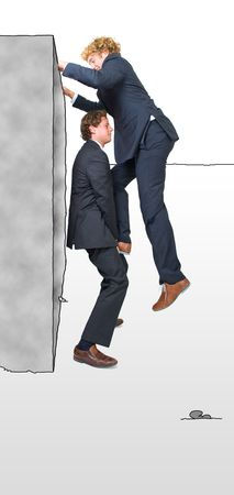 climbing wall: Two businessman helping eachother climb a platform, illustrating the overcoming of obstacles with teamwork.