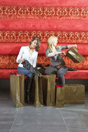 two young women checking out their purchases in a trendy lounge photo