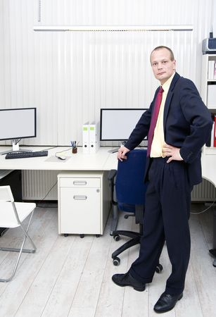 Manager stading in an office in front of a desk with multiple monitors and workstations with vertical blinds photo