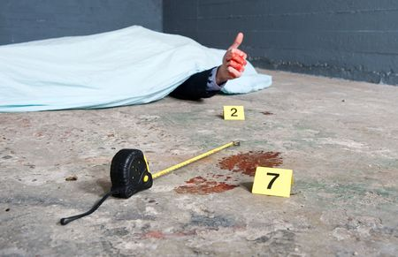 mockery: Crime scene investigation with a touch of humor, showing a footprint and a body giving a thumbs-up.