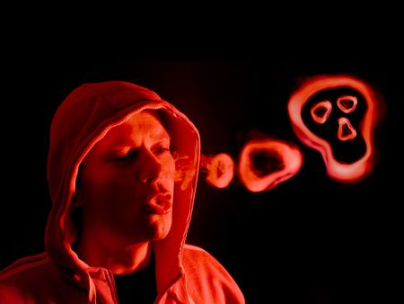 hoodlum: Hooded figure blowing smoke rings, lit from the right side by a red light