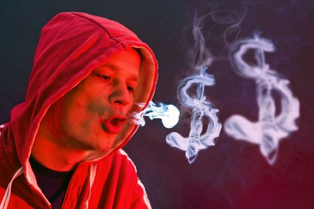 dollar signs: Hooded man, blowing dollar signs with smoke