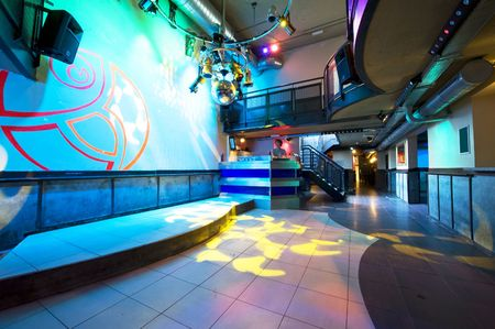 dance bar: The interior of a hip and trendy nightclub Stock Photo