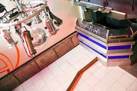 armature: Interior of a nightclub with the lighting armature and the dj booth Stock Photo