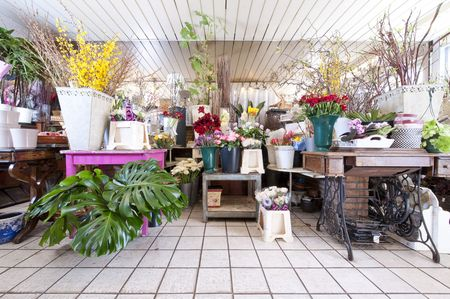 florists: Interior of a flower shop with lots of different country styled objects and flowers Stock Photo