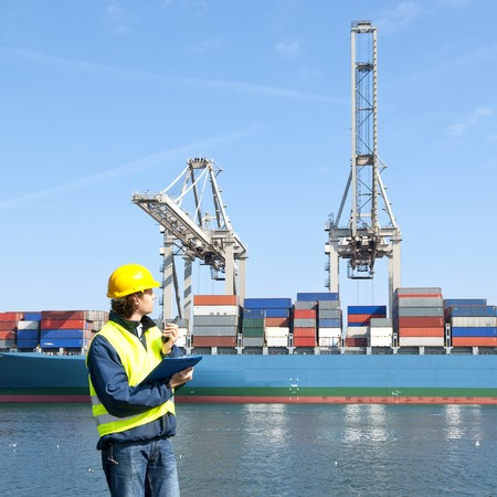 docker: Docker in front of a container ship