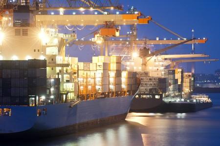 schepen: Twee containerschepen wordt gelost in de haven van Rotterdam. Een kleine ondersteuning schip is afgemeerd naast de vrachtcarrier in front.