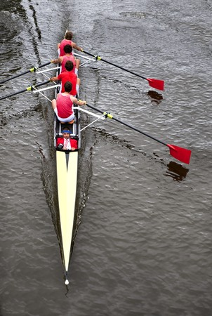 strenght: Rowing: a coxed four (4+) from above,