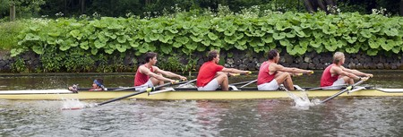 collegiate: Coxed four at speed on a canal Stock Photo