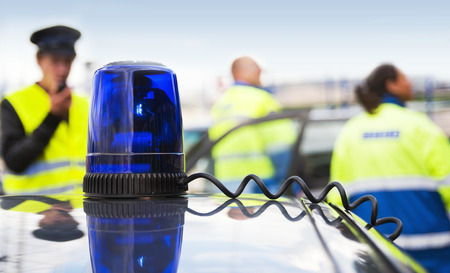 police unit: Blue Flashing Light Stock Photo