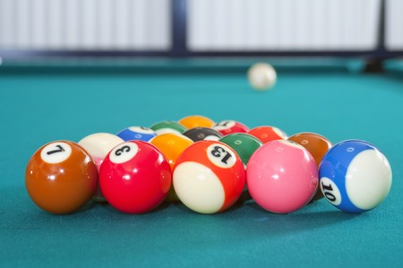 A game of eight ball pool, ready for the break,  Stock Photo - 8281421