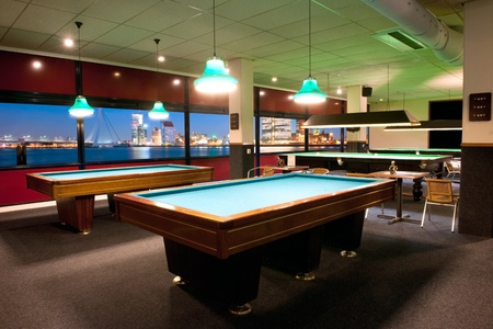 billiards room: Large, old fashioned pool room with a magnificent view