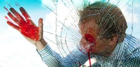 splintered: Severely wounded pedestrian hit by a car, being smashed through the windscreen