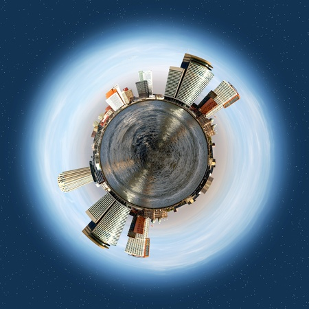 evolving: Spherized planet with a corporate and office theme, evolving around a big sea, with tall office buildings and smaller warehouses lining the horizon