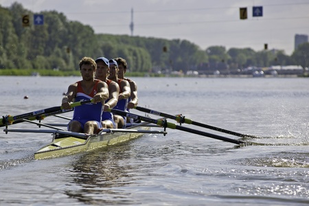 Bosbaan, Amsterdam, the Netherlands - 22 July 2011: The Dutch Mens coxless four during the start of their repechage, finishing first, in front of USA, AUS, BLR and FRA.