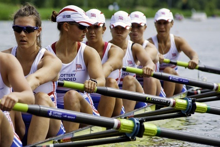 Bosbaan, Amsterdam, the Netherlands - 22 July 2011: The British women's 8 team just before the start of their race at the world championships under 23 Stock Photo - 10006906