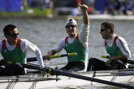 quadruple: Bosbaan, Amsterdam, Netherlands - 23 July 2011: Hungarys Krpesics, Forrai and Vallyon celebrate their placement in the Finals  in the Leightweight Quadruple sculls of the world championships under 23