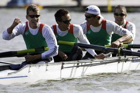 Bosbaan, Amsterdam, Netherlands - 23 July 2011: Hungary's Lightweight Men's Four reaches the finals of the world championships under 23 Stock Photo - 10006908