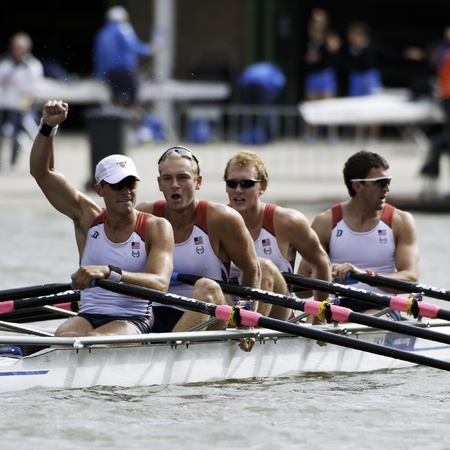 Bosbaan, Amsterdam, Netherlands - 23 July 2011: USA's Men's Quadruple Sculls progress through to the finals, celebrating after finishing second behind Ukraine. Stock Photo - 10006905