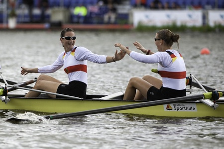 world record: Bosbaan, Amsterdam, Netherlands - 23 July 2011:  Germanys Womens Four about to become world champion under 23 in a world record time of 6:34.61