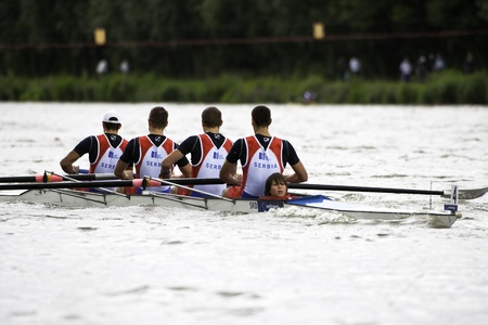 gold record: Bosbaan, Amsterdam, Netherlands - 23 July 2011: Serbias Mens Coxed four wins gold at the world championships rowing under 23 in a world record time of 6:03.01