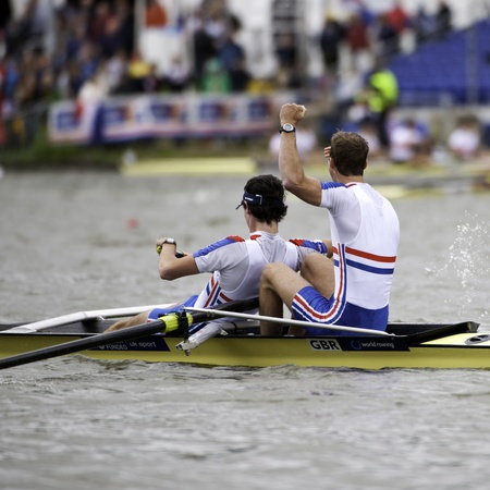 world record: Bosbaan, Amsterdam, Netherlands - 23 July 2011: Peter Chambers and Kieren Emery win gold in a world record time of 6:26.90 at the world championships rowing under 23