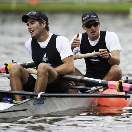 Bosbaan, Amsterdam, Netherlands - 23 July 2011:  New Zealand's Rapley and Svoboda are exhausted after winning silver at the finals of the world championships under 23 Stock Photo - 10006918