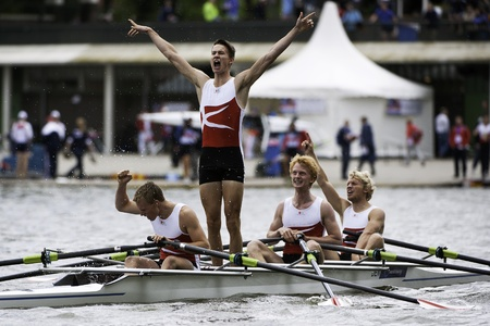 Bosbaan, Amsterdam, Netherlands - 23 July 2011:  The Danish Lightweight Men's Quadruple Sculls win the gold medal at the world championships under 23. Cheering after finishing the race - viking style. Stock Photo - 10006938