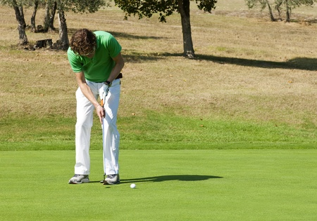 Golfer concentrating for a put on the green of a colf course Stock Photo - 10932044