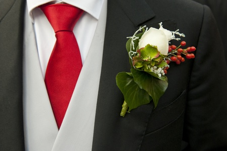 lapels: White rose in the buttonhole of the tail-coat of a groom, complementing the red necktie Stock Photo