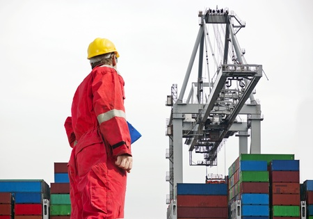 docker: Docker overseeing a large crane, unloading containers