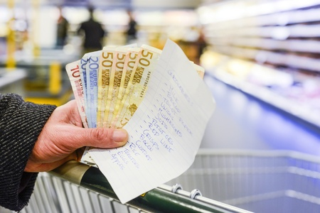 Hand, holding several euro bills and a shopping list with groceries, on a shopping cart inside a supermarket photo