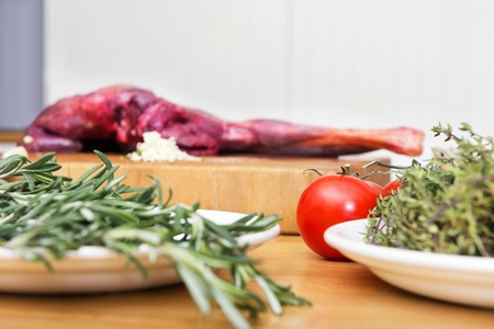 meat counter: Selective focus of vegetables and meat on kitchen counter