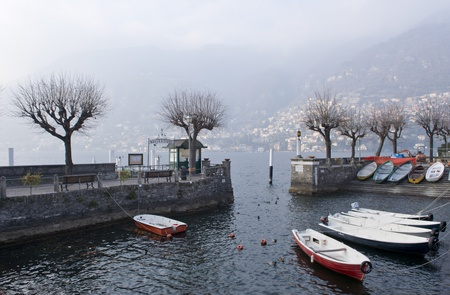 Torno harbor along the coast of Lago di Como, Italy photo