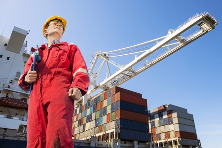 docker: Harbor master with clipboard, overalls, hard hat and safety glasses standing in front of a large container ship being unloaded