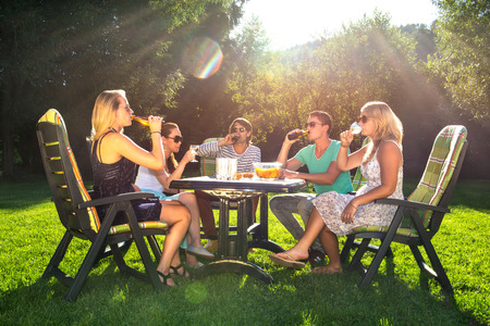 chair garden: Group of young friends enjoying a garden party on a sunny afternoon Stock Photo