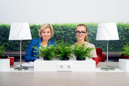 environmentalists: Portrait of confident female environmentalists sitting at desk in office