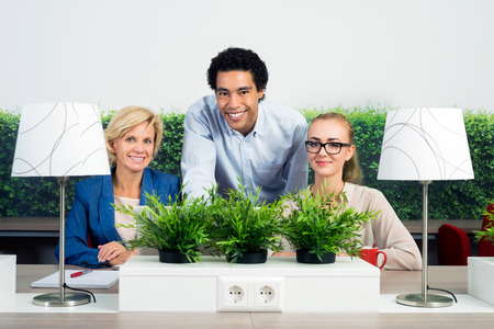 environmentalists: Portrait of confident multiethnic environmentalists at desk in office