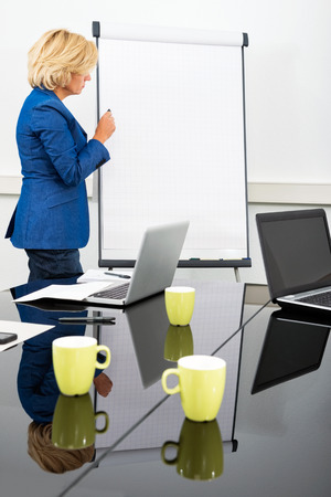proprietor: Side view of female executive next to flipchart in a modern conference room during a strategy meeting