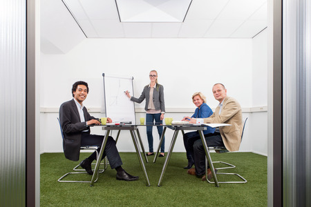 Small business meeting, with four people in a small stylish conference room with grass on the floor, discussing strategy, growth, sustainability and environmental inpact of business, photo
