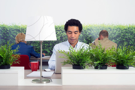Business man working in a green office Stock Photo