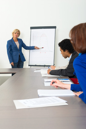Business woman giving a presentation in a conference room photo