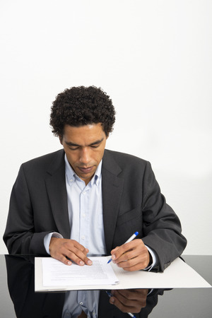 contractual: Lawyer going over the details of a contract