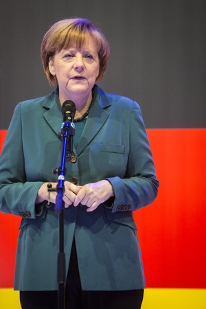 messe: HANOVER, GERMANY - APRIL 7:  Chancellor Angela Merkel speeching at the opening of Hannover Messe. April 7, 2014. The Hannover Messe is the largest industrial trade fair in the world
