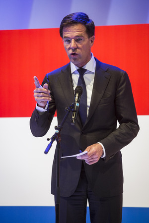messe: HANOVER, GERMANY - APRIL 7:  Dutch Prime Minister Mark Rutte speeching at the opening of Hannover Messe. April 7, 2014. The Hannover Messe is the largest industrial trade fair in the world Editorial
