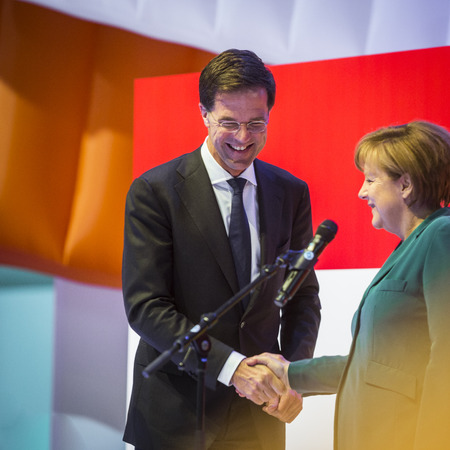 messe: HANOVER, GERMANY - APRIL 7:  Dutch Prime Minister Mark Rutte and German Chancellor Angela Merkel opening the Hannover Messe. April 7, 2014. The Hannover Messe is the largest industrial trade fair in the world