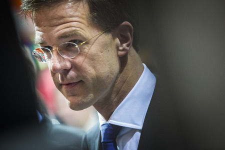 messe: HANOVER, GERMANY - APRIL 7:  Portrait of Dutch Prime Minister Mark Rutte at the opening of Hannover Messe. April 7, 2014. The Hannover Messe is the largest industrial trade fair in the world Editorial
