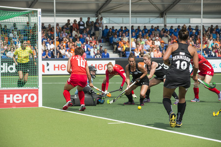 preliminary: THE HAGUE, NETHERLANDS - JUNE 2: New Zealander Grant is trying to score a goal on the Korean side of the field during the Hockey World Cup 2014 in the preliminary match between Korea and New Zealand (woman). KR beats NZL  1-0