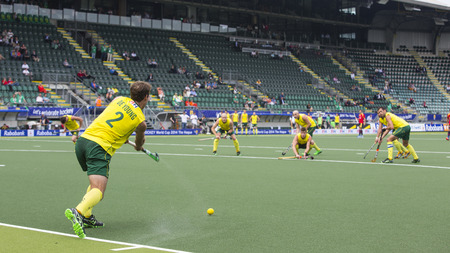 preliminary: THE HAGUE, NETHERLANDS - JUNE 2: Australian De Young is taking a corner during the Hockey World Cup 2014 in the preliminary match between Australia and Spain (men). AUS beats SPA 3-0