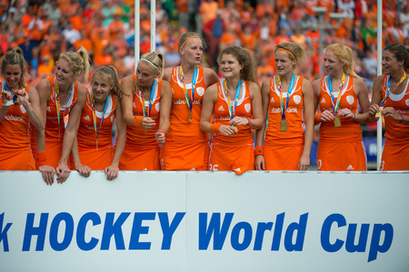 attacker: Hockey, world cup, 2014, field hockey, stick, pitch, Kyocera Stadium, The Hague, ball, match, preliminary, international, Netherlands, Sports, field hockey, defender, attacker,  defense, athletes, artificial turf, World cup hockey, world championships, in Editorial